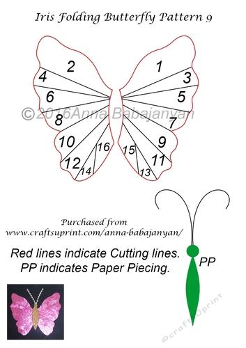 Iris Folding Butterfly Pattern 9 CUP71896596 Craftsuprint