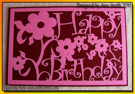 Download Rectangular Panel - Floral - Happy Birthday - Silhouette ...