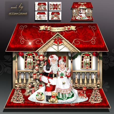 Christmas House With Mr And Mrs Santa Claus Card Kit