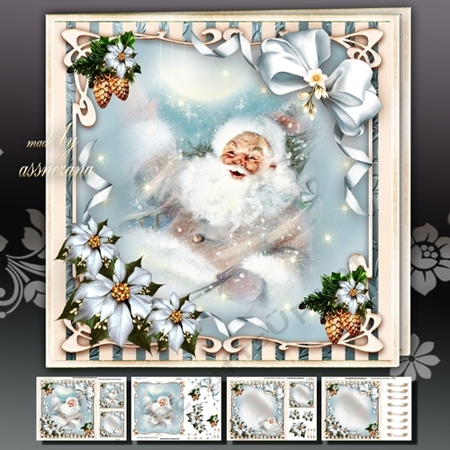 Winter Santa Sleigh With Gifts In The Sky CUP7301361641
