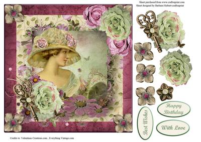 Rose Victorian Lady Portrait With Decoupage CUP421226