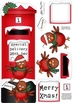 Large Dl Xmas Robins Postbox 3D Decoupage CUP270538359