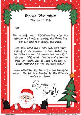 Christmas Skating Santa A4 Childs Letter From Santa