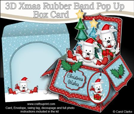 3D Xmas Westie Dogs Rubber Band Pop Up Box Card