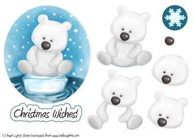 Cute Christmas Polar Bear Decoupage Sheet CUP149201890