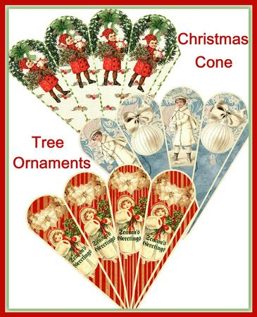 Vintage Christmas Cone Tree Ornaments Set CUP647344503