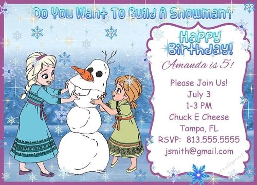frozen anna elsa olaf kristoff personalized birthday party invites invitations
