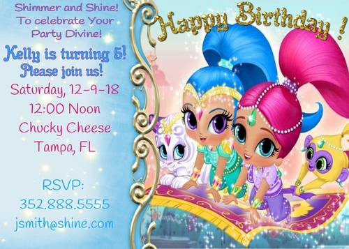 shimmer and shine personalized birthday party invites invitations