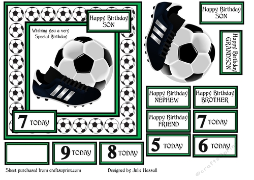 FOOTBALL BIRTHDAY CARD FOR BOYS AGED 4 9 GREEN CUP8924262306 Craftsuprint