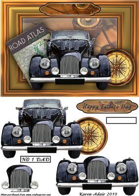 Vintage Car 3D Step By Step CUP84106168 Craftsuprint