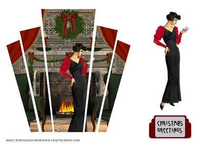 Christmas Art Deco Panels With Lady CUP375096617