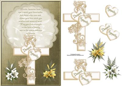 Cross Lilys And Verse Sympathy Card With Decoupage