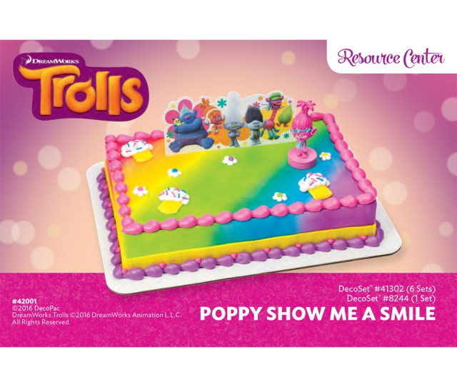 Trolls Poppy Show Me A Smile Decoset   Sheet Cake Decorating Instructions