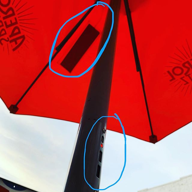Solar powered USB ports on a patio umbrella 🤯🤯🤯