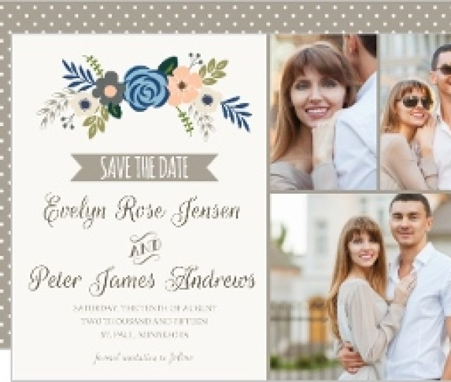 Fresh Florals And Taupe Accents Save The Date Announcement