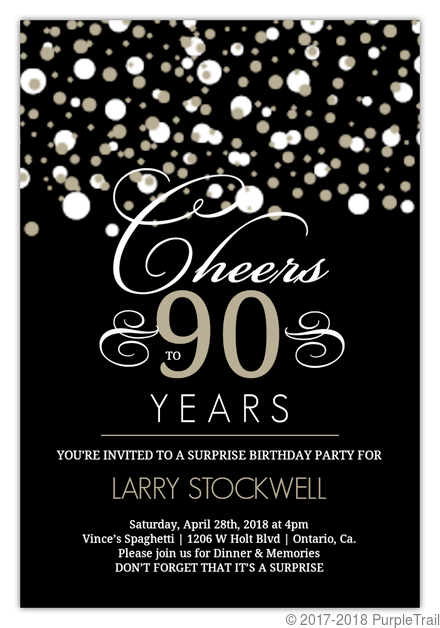 black and taupe elegant confetti 90th birthday invitation