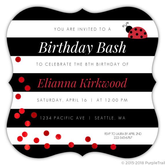 black white stripes ladybug birthday invitation