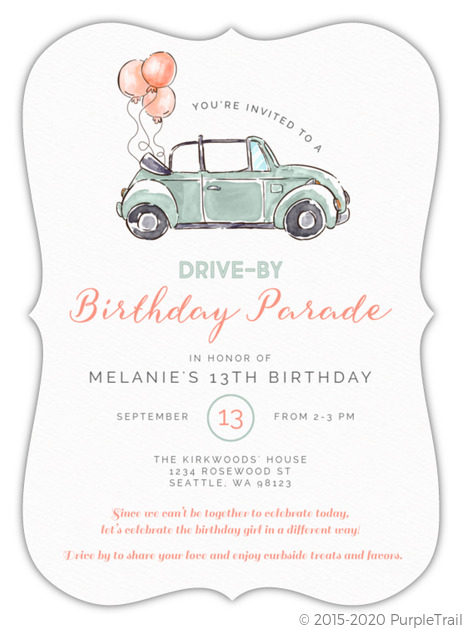 watercolor balloon car drive by birthday invitation