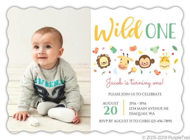 cute jungle safari kids birthday invitation