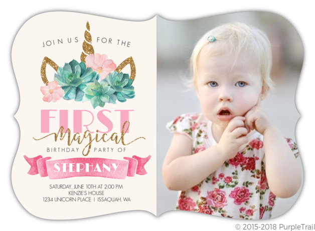 magical unicorn first birthday invitation