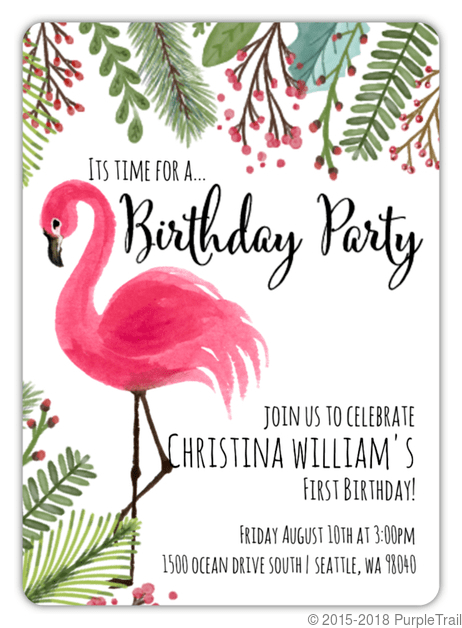pink flamingo first birthday invitation