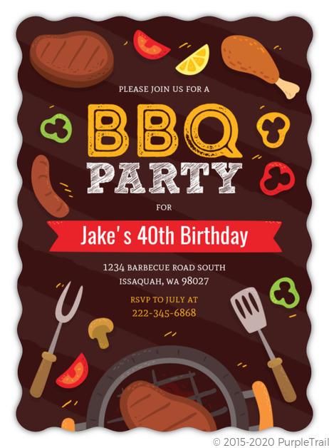 fun grilling bbq 40th birthday party invitation