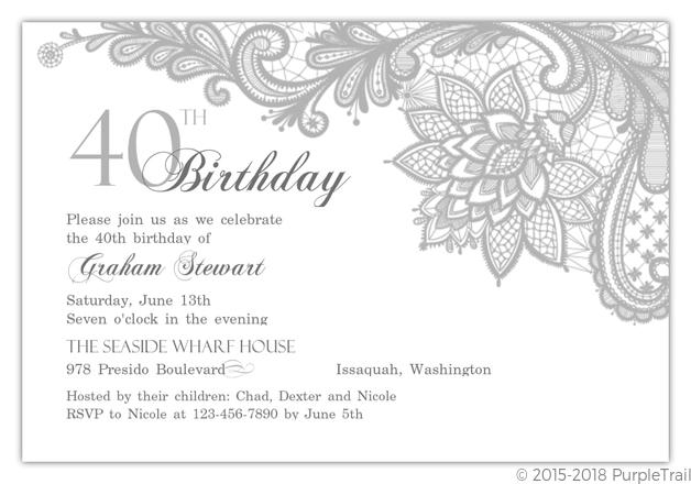 elegant lace silver 40th birthday invitation