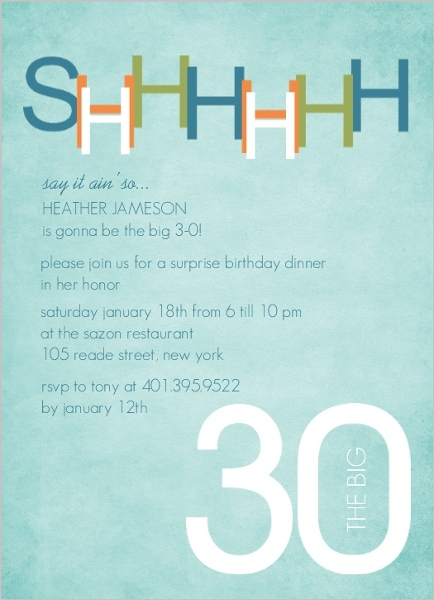 blue and green surprise 30th birthday invitation