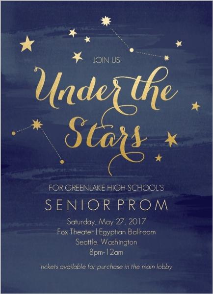 Watercolor Constellation Prom Invitation Prom Invitations