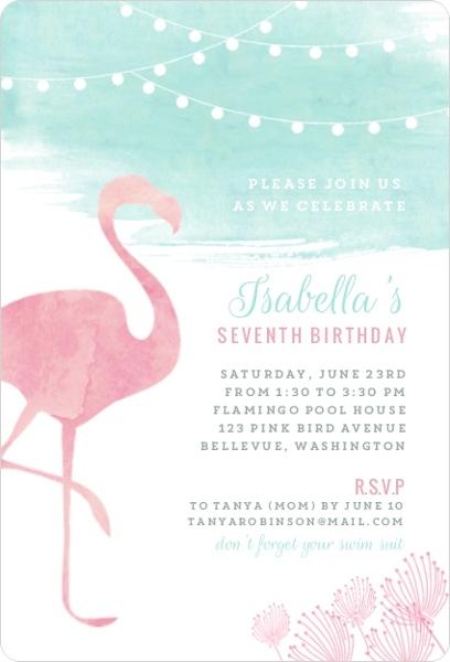 Watercolor Pink Flamingo Birthday Party Invitation Kids