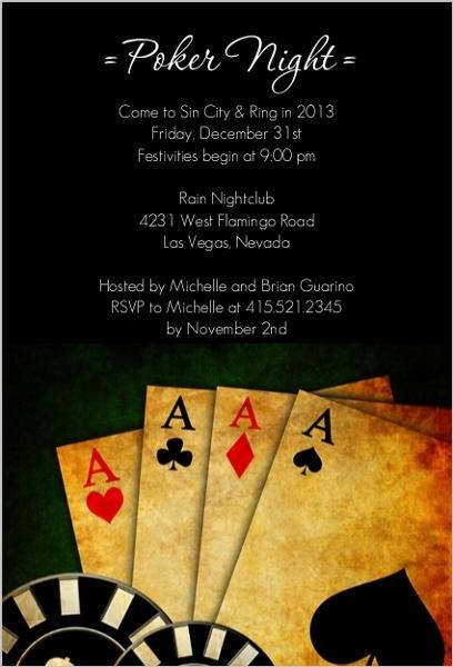 Poker Night In Vegas Casino Party Invitation Poker Party