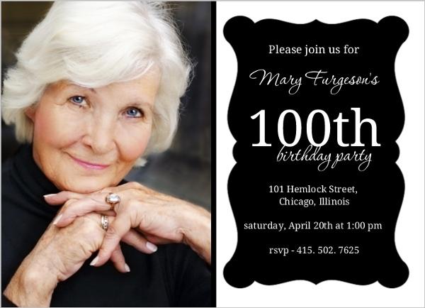 elegant black frame 100th birthday invitation