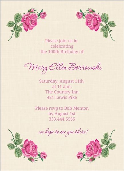 cream and floral set 100th birthday invitation