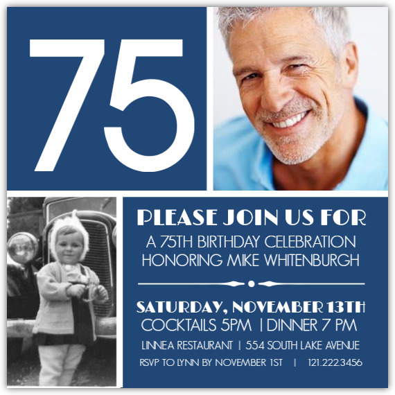 white bold 75 on navy 75th birthday invitation