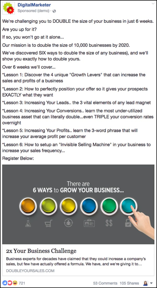 """""""Double Your Sales"""" Facebook ad from 2016"""