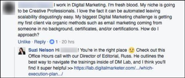 An example of Suzi connecting people to content that will answer their question