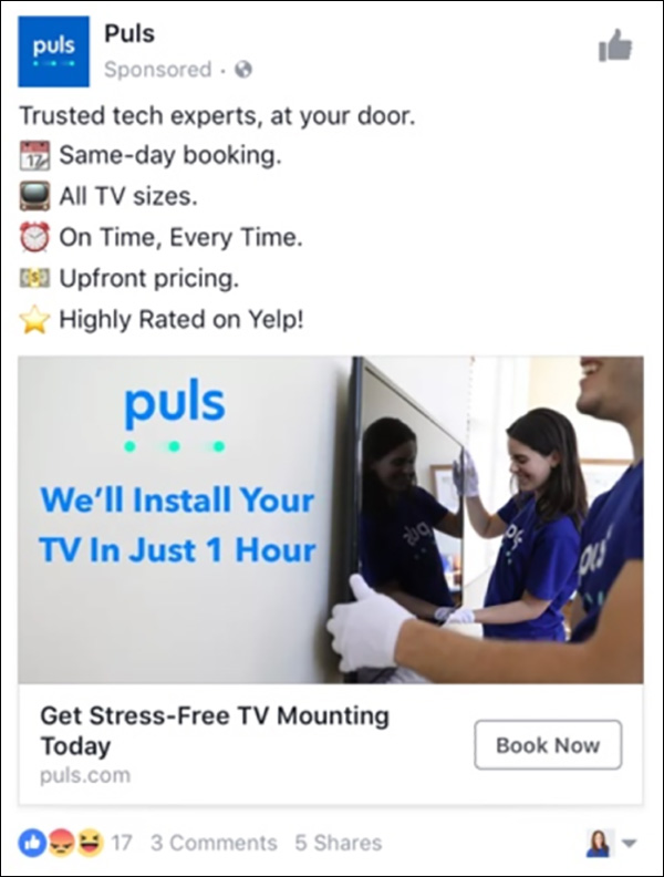 Facebook ad from Puls
