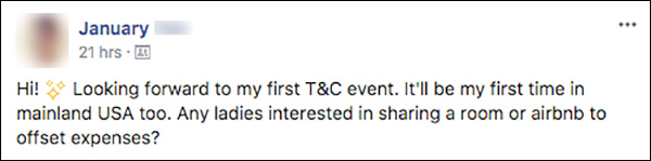 A Traffic & Conversion Summit attendee looking to see if other attendees would be interested in splitting a room to offset costs