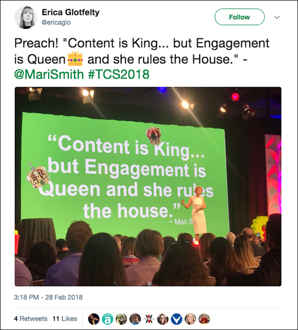 """Content is King...but Engagement is Queen, and she rules the house."" ~Mari Smith"