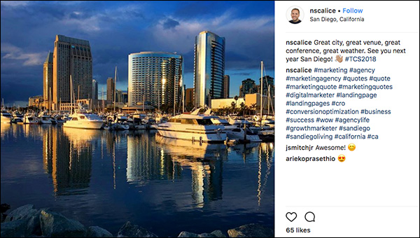 Shot of San Diego from Traffic & Conversion Summit 2018 attendee. Instagram post