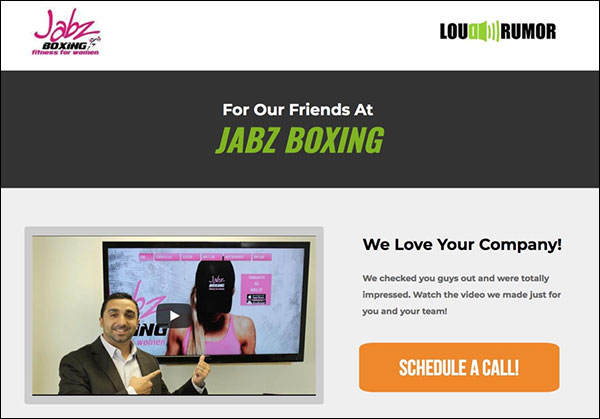 An example of a custom landing page for Jabz Boxing by Loud Rumor
