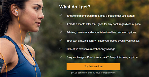 Audible's offer covering what a membership entails