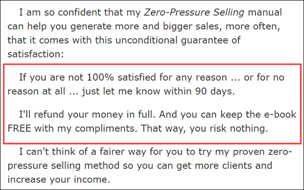 Bob Bly guarantee in one of his sales letters
