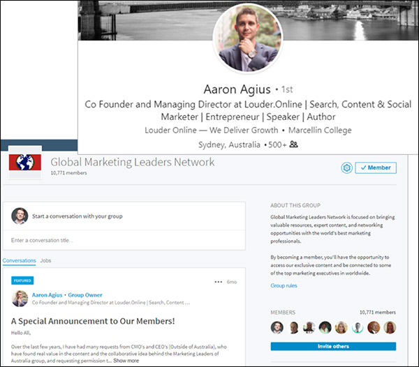 LinkedIn Aaron Agius profile and screenshot of his LinkedIn group, Global Marketing Leaders Network group