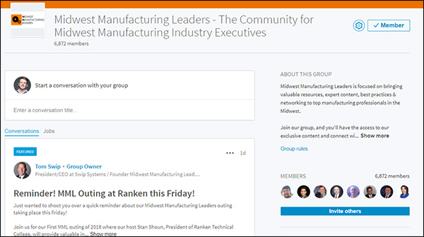 LinkedIn group for Midwest Manufacturing Leaders made by Tom Swip