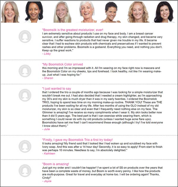list of testimonials from moisturizer company