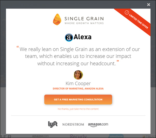 Single Grain ad with testimonial from Amazon employee