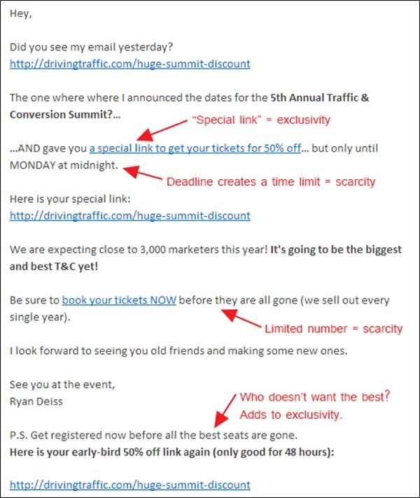 Email containing several examples of scarcity