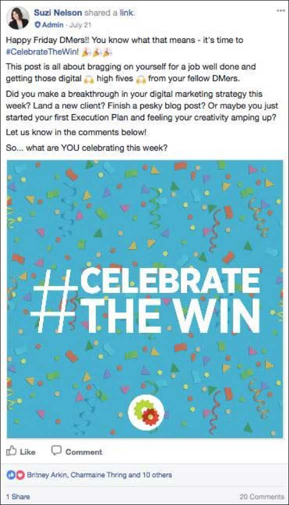 Celebrate the wins Facebook post