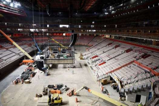 While working on the construction of the new Little Caesars Arena, an electrical worker died after falling 75 feet from a catwalk.(Tanya Moutzalias/MLive Detroit photo)